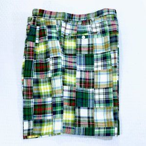 Berle Pleated Authentic Patch Madras Shorts